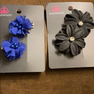 4 flower hair clips NWT navy and black